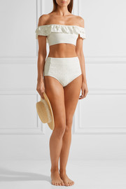 Off-the-shoulder broderie anglaise-paneled bonded jersey bikini