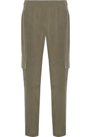 Theory Hamtana silk crepe de chine tapered pants