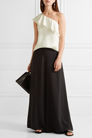Theory Damarill one-shoulder ruffled silk top