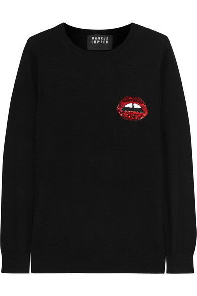 Markus Lupfer - Sequin-embellished Merino Wool Sweater - Black