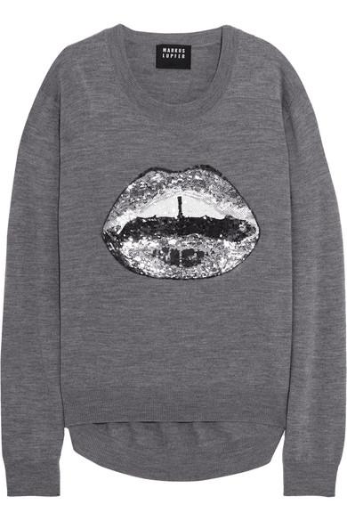 Markus Lupfer - Lara Sequin-embellished Wool Sweater - Gray
