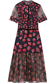 Susie floral-print silk crepe de chine and chiffon midi dress