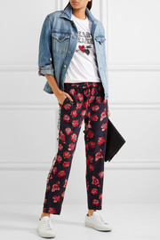 Markus Lupfer Lana ruffled printed silk crepe de chine tapered pants