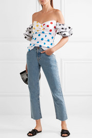 Louisa off-the-shoulder embroidered polka-dot cotton top