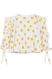 Gabriella off-the-shoulder polka-dot cotton top