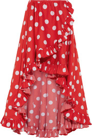 Adelle asymmetric ruffled polka-dot cotton skirt