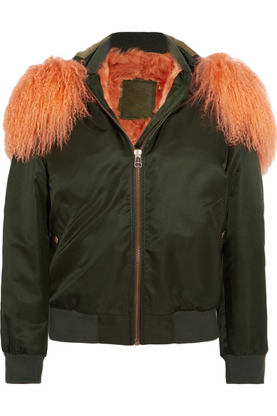 f9a116700 Hooded shearling-lined cotton-canvas bomber jacket