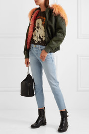 Shearling-trimmed shell bomber jacket