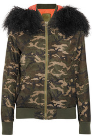 Shearling-trimmed camouflage-print canvas bomber jacket