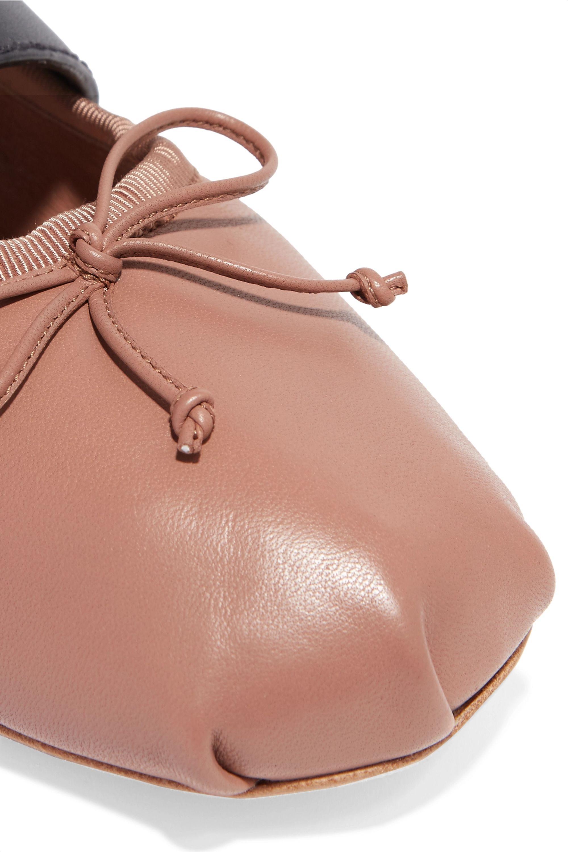 Miu Miu Lace-up leather ballet flats