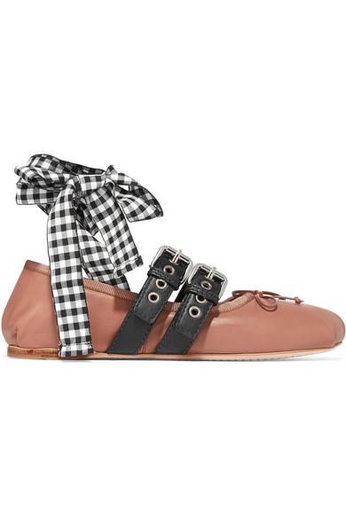 Miu Miu - Lace-up Leather Ballet Flats - Pink