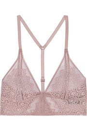 Excite stretch-lace and tulle soft-cup triangle bra