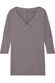 Mesh-trimmed stretch-modal pajama top