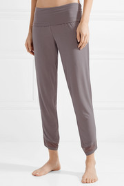Mesh-trimmed stretch-modal pajama pants