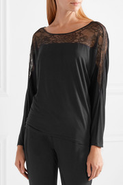 Decadence lace-paneled modal-blend pajama top