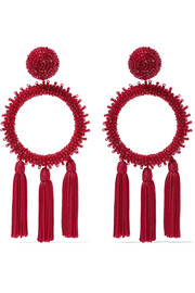 Oscar de la Renta Tasseled beaded clip earrings