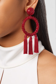 Tasseled beaded clip earrings