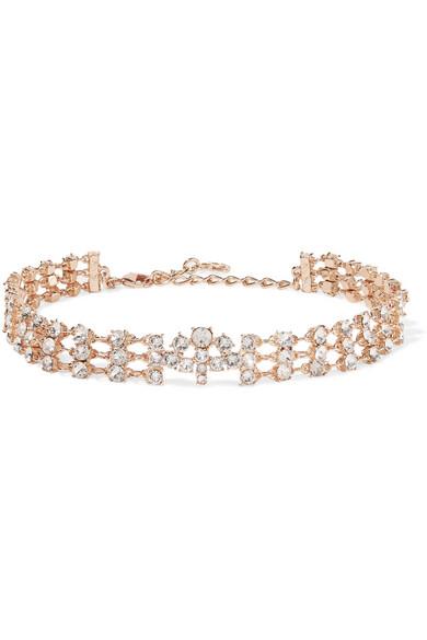Oscar de la Renta - Rose Gold-tone Crystal Choker - one size