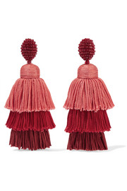 Oscar de la Renta Tiered  beaded tassel clip earrings