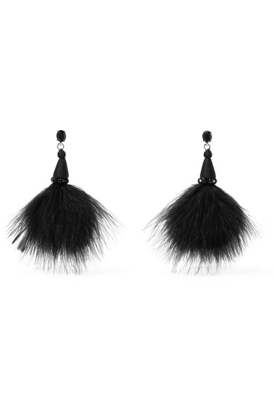 Oscar de la Renta - Feather, Crystal And Bead Earrings - Black