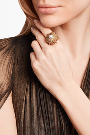 Oscar de la Renta Sun Star gold-plated faux pearl ring