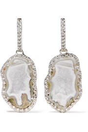 Kimberly McDonald 18-karat white gold, geode and diamond earrings