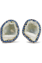 18-karat blackened white gold, geode and sapphire earrings