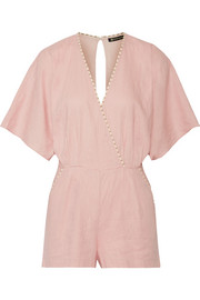 Vix Marion wrap-effect linen-blend playsuit