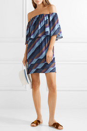Vix Ivy off-the-shoulder striped voile mini dress
