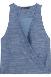 Vix Wrap-effect cotton-chambray top