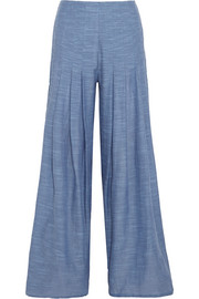 Vix Meidy split-side cotton-chambray wide-leg pants