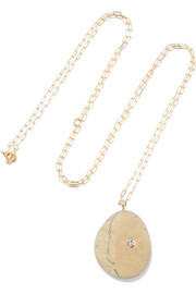 Delphina 18-karat gold, stone and diamond necklace