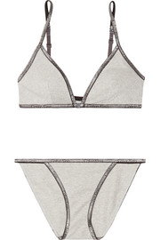 ID metallic stretch cotton-blend jersey bra and brief set