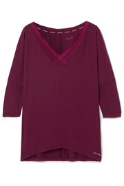 Sculpted mesh-trimmed stretch-modal pajama top
