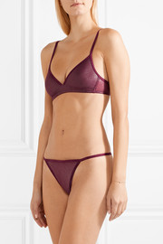 Sheer Marquisette stretch-lamé thong