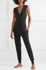 Pure wrap-effect knitted jumpsuit