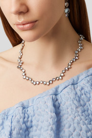 Larkspur & Hawk Caterina Garland Rivière rhodium-dipped quartz necklace