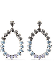 Caterina large rhodium-dipped quartz earrings