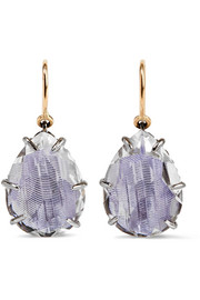 Caterina rhodium-dipped quartz drop earrings
