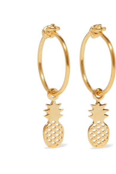 II - Pineapple Gold-plated Hoop Earrings