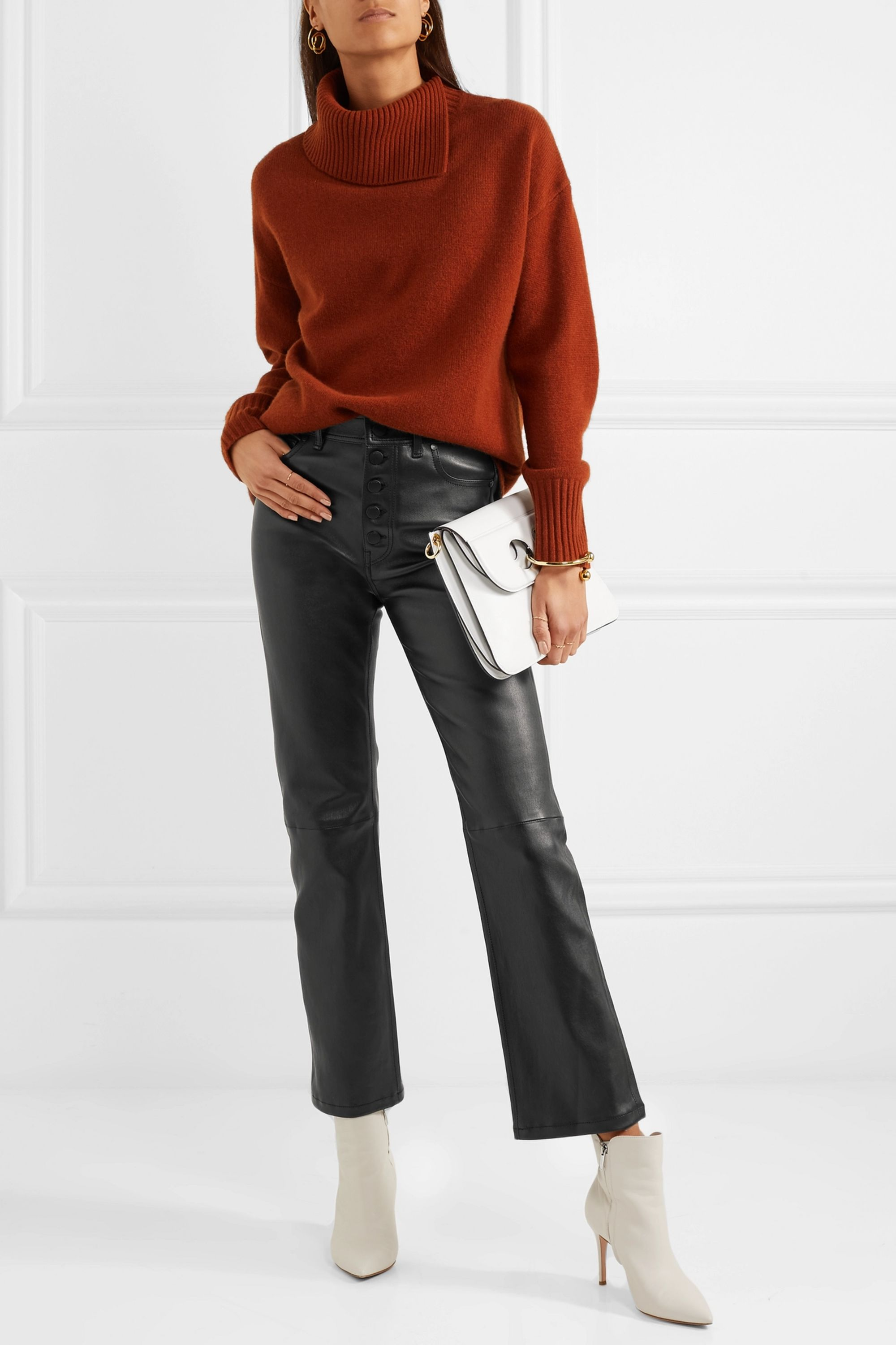 Joseph Den cropped stretch-leather straight-leg pants
