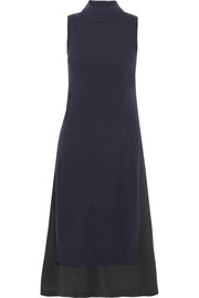 Joy layered wool and cashmere-blend and silk-crepe dress