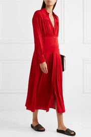 Josie pleated stretch-silk crepe de chine midi dress