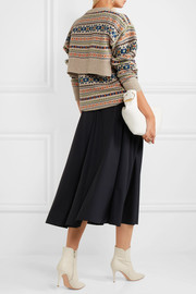 Layered intarsia wool sweater