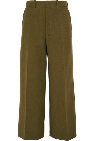 Joseph - Ferrandi Wool-blend Wide-leg Pants - Army green