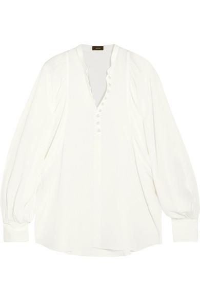 Pictures Sale Online Joseph Woman Ruffle-trimmed Cotton And Silk-blend Blouse Beige Size 36 Joseph Cheap Sale Discounts 2018 New For Sale csoHeGvf
