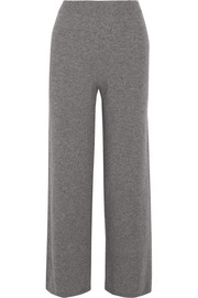 Ribbed cashmere wide-leg pants