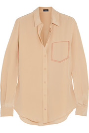 Joseph Garcon embroidered silk crepe de chine shirt