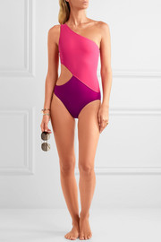 Araks Elmar one-shoulder cutout two-tone swimsuit