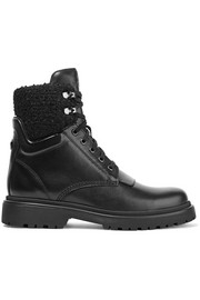 Moncler Patty shearling-trimmed leather ankle boots